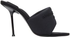 Heeled Mules, Heeled Sandals, Black Mules, Alexander Wang, Stiletto Heels, Footwear, Slip On, Almond, Leather