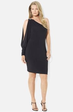 Lauren Ralph Lauren Open Sleeve One Shoulder Dress (Plus) available at #Nordstrom