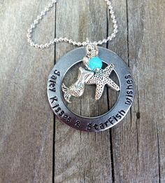 Handstamped Washer Beach Necklace by lololuv on Etsy