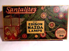 Santalites, Santa Lites, Edison Mazda, Beautiful, Christmas Lights box, tree, Christmas ornaments, 1950s, christmas, 1960s, shiny bright by DeliciasCastle on Etsy