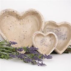 Stone Heart bowls - Pic as inspiration - try shaping hypertufa, or use heart shaped cake pans or plastic bowls as molds (Valentine's Day decorations for molds)