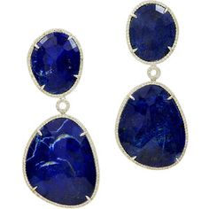 Blue Lapis Earrings Surrounded in White Diamonds