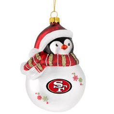 San Francisco 49ers Top Hat Snowman Blown Glass Ornament