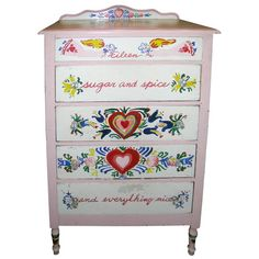 Primitive Style Painted Dresser  Cape Cod, U.S.A.  1940's  Four drawer handpainted dresser in the style of Peter Hunt. Painted with charming hearts and flowers and the name Eileen.