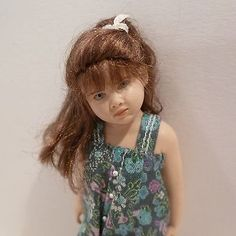 "MINIATURE LITTLE GIRL DOLL BY SUSAN SCOGIN ""GIRL IN PRINT OVERALLS"" #44/500"