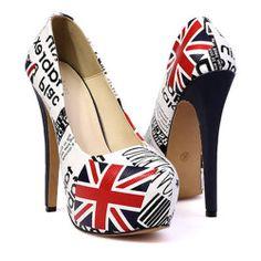 Fashion Round Closed Toe UK National Flag Pattern  Stiletto High Heels White PU Pumps