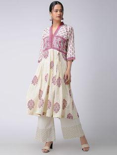 Beige-Pink Block-Printed Cotton Kurta