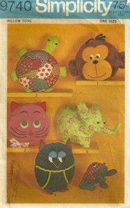 Simplicity 9740 1970s Pattern Turtle Monkey Kitty Elephant Owl and Frog Pillow Toys or Pajama Bags Vintage Sewing Pattern by patterngate.com