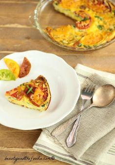 Bacon Spinach Tomato Ricotta Frittata. (crust free) easy, grain free, primal and very low carb (1 g total carb per slice).