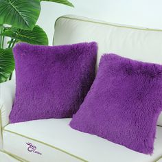 Amazon.com - Euphoria CaliTime Cushion Covers Pillows Shell Super Soft Plush Faux Fur Bed Sofa Home Purple Color 18 X 18 Inches -