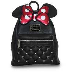 Loungefly x Minnie Bow Mini Backpack - Disney - Brands ($64) ❤ liked on Polyvore featuring bags, backpacks, bow backpack, day pack backpack, mini bags, knapsack bag and miniature backpack