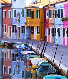 Colorful houses and boats, Burano Island, Venetian Lagoon, Italy.  Photo from 206 Tours.