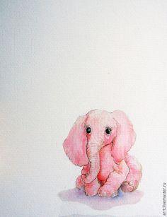 Детская ручной работы. Ярмарка Мастеров - ручная работа. Купить Розовый Слон Акварель. Handmade. Розовый, детские картины