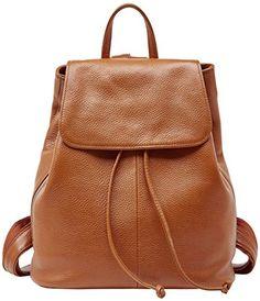 bd9afb4241 Genuine Leather Backpack for Women Elegant Ladies Travel School Shoulder Bag  Orange-Caramel)