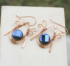 Navy Blue Crystal Copper Wire Wrap Faceted Crystal Earrings Jeanninehandmade #Jeanninehandmade #Wrap