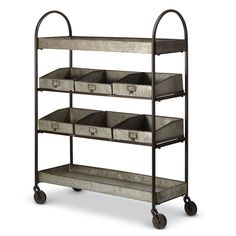 Urban Large Galvanized Shelf Unit/Rack on Wheels-Bath/Kitchen, 46''H. #Unbranded
