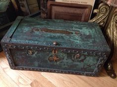 1890s Strongbox. Patina of green paint over riveted steel masterpiece. Journeyman' final project most likely. Brass details riveted in.