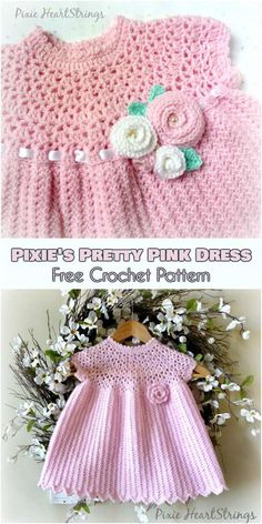 Pixie's Pretty Pink Baby Girl Dress Free Crochet Pattern #freecrochetpatterns #crochetdress #crochetbabydress #summerdresses