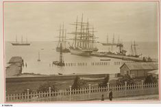 View of the Yarra Street wharf at Geelong, Victoria, with a number of ships tied up.
