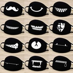 Cotton Dust Mask Cartoon Expression Teeth Muffle EXO-K Chanyeol Face Respirator Anti Kpop Bear Mouth Mask Name: dust mask Fabric: high quality cotton Season: Four Seasons Colour: Black Bts Face Mask, Face Masks, Half Face Mask, Face Face, Camouflage, Unisex, Mouth Mask Design, Cartoon Expression, Mouth Mask Fashion