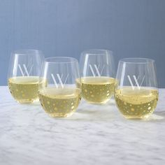 Personalized 19.25 oz. Gold Dotted Stemless Wine Glasses (Set of 4) (Blank), Clear