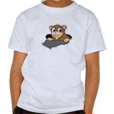 Kids Tee Shirt  - This groundhog is getting a sneak peek from his burrow as he spots his shadow. Customize to your liking. Available on all styles, colors and sizes.