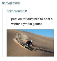 Petition for Australia to host a Winter Olympic Games. <-- we did once but we had to delay ice skating bc the ice wouldn't freeze 😂 Australian Memes, Aussie Memes, Funny Memes, Hilarious, Jokes, Stupid Funny, Australia Tumblr, Australia Funny, Meanwhile In Australia