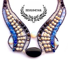 """Angel Wings - Michael"" Pearl Necklace with Onyx, Moonstone, Rock Crystal, Cat's Eye, Freshwater Pearl, Swarovski Crystals."