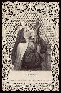 Teresa of Avila Mystic and poet. St Teresa of Avila lived through the Spanish inquisition but avoided been placed on trial despite her mystical revelations. She helped to reform the tradition of Catholicism and steer the religion away from fanaticism. Catholic Prayers, Catholic Art, Catholic Saints, Religious Pictures, Religious Icons, Religious Art, Sainte Therese De Lisieux, St Therese, Saint Teresa Of Avila