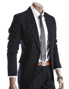 Doublju Mens Luxury Two Button Plaid Jacket