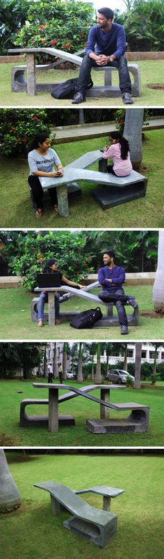 The public seating design by Shoeb Khan indicates the change in behavior of people over the past 20 years. The public seating design allows for two people to sit one beside another but still gives them their personal space. Visitors can sit either facing outwards, using the bench behind them as a backrest, or sit facing inwards, giving them a table of sorts to keep their paraphernalia.
