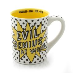 "EVIL GENIUS AT WORK - So Much to Do So Few Minions to Do it for Me - MWAH-HA-HA-HA - Measures 5.25"" L x 3.75"" W x 4.5"" H, and is made of Stoneware. Holds 16 oz. Item #4037152"