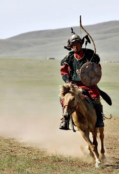 horseman dressed in medievel mongol costume