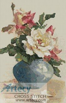 Roses in a Blue Vase Cross Stitch Pattern to print online. Needlepoint Stitches, Needlepoint Kits, Counted Cross Stitch Patterns, Cross Stitch Embroidery, Needlework, Cross Stitch Rose, Cross Stitch Flowers, Victorian Cross Stitch, Crafty Craft