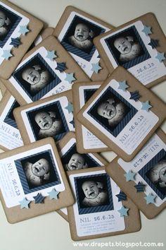 handmade baby announcement/baptism cards cute photo of baby with bird data o Bautizo Diy, Ideas Bautizo, Faire Part Invitation, Party Invitations, Baby Shower Deco, Baptism Cards, Baby Boy Baptism, Christening Invitations, Ideas Para Fiestas
