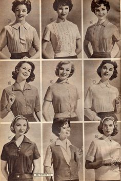 Nine timelessly lovely blouses and tops from the pages of a 1958 Montgomery Ward catalog.