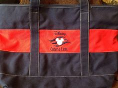 Canvas Zippered Disney Cruise Line DCL Purse Tote Red Navy Blue Mickey Mouse #Disney