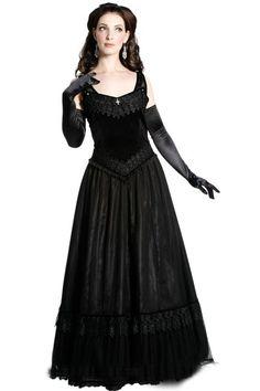 Chandra Elegant BLACK Satin & Velvet Dress by Sinister
