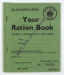 January 8, 1940: Wartime rationing begins in the UK. The first items rationed were butter, sugar, and bacon, and these were soon followed by meat, tea, jam, biscuits, cereals, cheese, eggs, milk, and dried and canned fruit. Most food items were rationed according to weight -- meat, however, was rationed by price. The illustration is of a child's ration book from this period.