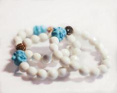 Buddha beaded bracelet with CZ bead by EllieMadisonDesigns on Etsy