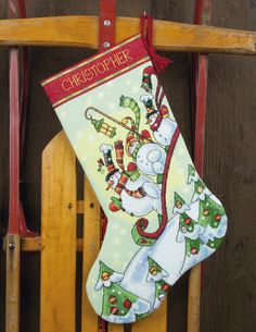 Sledding Snowmen Christmas Stocking - finished, waiting for an owner