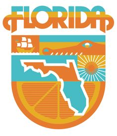 Love the retro feel of this Florida graphic. Combining two of my favorite colors also (orange & turquoise/teal).
