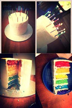 Rainbow cake!! Rainbow, Cake, Desserts, Food, Pie Cake, Rainbows, Meal, Rain Bow, Cakes