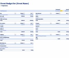 formal generic event budget template