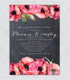 Chalkboard Blackboard Floral Poppy Flowers Watercolor Watercolour Bridal Shower Wedding Invitation Printable Digital