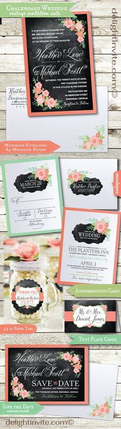 Expertly printed on gorgeous metallic paper and artfully hand-mounted onto beautiful coral peach 120# card stock, this vintage floral wedding invitation ensemble is truly stunning in person! Choose from lovely matching RSVP cards, Save the Date Cards, Accommodation Cards, Favor Tags, Food Tent Cards, and Thank You Cards!