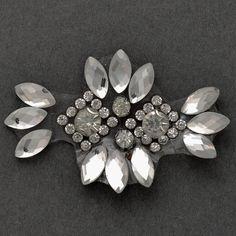 Rhinestone Beaded iron-on Applique, Bridal Applique Patch, Silver Beads, Silver Rings, Iron On Applique, Gem S, 4 H, 1 Piece, Crystal Rhinestone, Brooch, Bridal