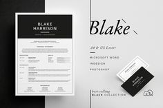Ad: Resume/CV - Blake by bilmaw creative on Resume / CV Template - Blake --- Includes FREE Matching Business Card Design Introducing 'Blake', a simple, striking design which includes a Cover Letter Template, Cv Template, Resume Templates, Business Brochure, Business Card Logo, Business Card Design, Resume Cv, Resume Design, Resume Help