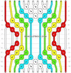 Normal friendship bracelet pattern added by clairehair. Diy Bracelets Patterns, Macrame Bracelet Patterns, Thread Bracelets, Diy Bracelets Easy, Bracelet Knots, Bracelet Crafts, Macrame Patterns, Bracelet Designs, Macrame Bracelets