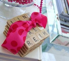 Combine a bunch of Scrabble tiles to make Scrabble coasters!